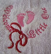 """PERSONALIZED EMBROIDERED BABY GIRL WELCOME  HOODED BATH TOWEL""100% COTTON"