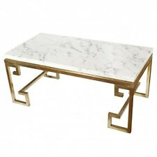 New White marble coffee table gold frame large rectangle marble coffee table