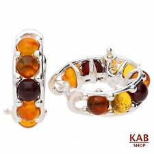 BALTIC AMBER STERLING SILVER 925 JEWELLERY HOOP EARRINGS. KAB-144