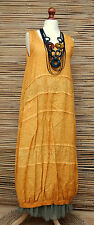 LAGENLOOK LINEN ACID WASHED BALLOON 2 POCKETS MAXI DRESS*YELLOW*BUST UP TO 40""
