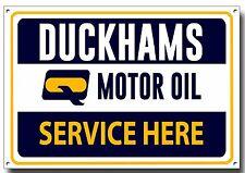 DUCKHAMS MOTOR OIL SERVICE HERE METAL SIGN,VINTAGE GARAGE METAL SIGN.