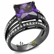 6.85CT PRINCESS CUT AMETHYST ZIRCONIA LIGHT BLACK PLATED COCKTAIL RING SIZE 5-10
