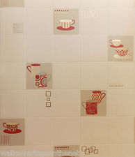 Gold, Red & Cream,Tiling on Roll Style, Kitchen Wallpaper *£12.99 inc P&P*