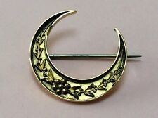 ANTIQUE 15CT GOLD CRESCENT MOON BROOCH PIN 1890