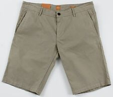 Men's HUGO BOSS ORANGE Khaki Tan Twill Cotton Shorts 38 NWT NEW Schino 50258928