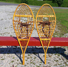 EXCELLENT Vintage SNOWSHOES 42x14 w/ Leather BINDINGS Vintage Snow Shoes W@W!