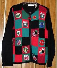 Woman's Ugly Christmas Sweater - Ornaments Beaded - Size Large - Victoria Jones