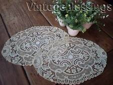 """2 Small Antique French Net Schiffli Doilies 13.5"""" x 9.5"""" (ng)"""
