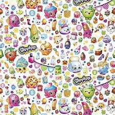 "Moose Shopkins Party 100% cotton 43"" fabric by yard"