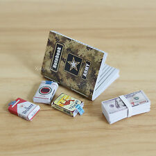 "1:6 Scale Handmade Military Notebook Cigarette Packs Cash Fits 12"" Action Figure"