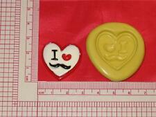 I Love Mustache 2D Push Mold Food Safe Silicone #719 Cake Chocolate Resin Clay