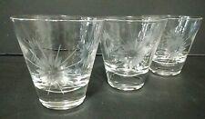 Vintage clear etched crystal shot glasses.. set of 10