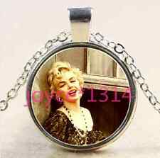 Marilyn Monroe Cabochon Tibetan silver Glass Chain Pendant Necklace #2299