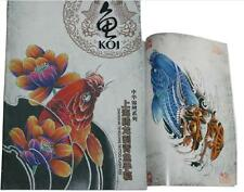 KOI Flower Carp Fish Tattoo Flash Chinese Top KOI  with outline Sketch book