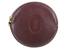 Auth Cartier Logos Leather Circle Compact Coin Purse Wallet Bordeaux 14520iSaB
