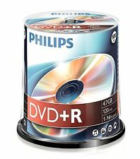 Nueva Philips DVD+R 120 Min Video 4.7 GB de datos 16x la velocidad en blanco Disco Husillo 100 Pack