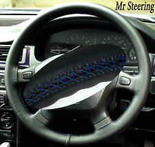 FOR LAND ROVER FREELANDER 97-05 REAL BLACK STEERING WHEEL COVER BLUE STICH
