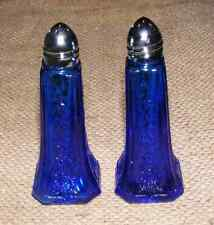 Salt and Pepper Shakers Cobalt Blue Pair Reproduction Depression Glass # 508C