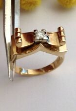 VINTAGE 18KT SOLID YELLOW GOLD  SOLITARY GENUINE DIAMOND RING