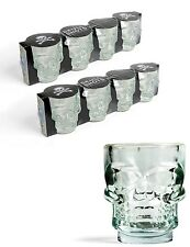 Kikkerland Set Of 8 Glass Skull Shot Glasses Drinking Party Shooter Glass Bar