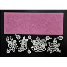 FOUR-C New Christmas Theme Lace Mat Silicone Cake Mold for Cake Decorating Tools