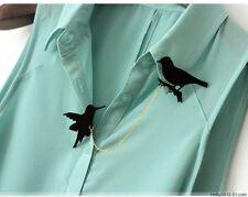 Brooch tassel double chain men and women collar pin Birds & Cat & Squirrel Shape