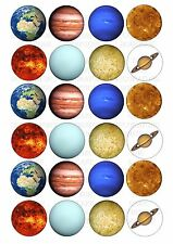24 Planets Wafer / Rice Paper Cupcake Topper Edible Fairy Cake Bun Toppers