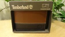 NIB Timberland Two-Tone Leather Commuter Wallet in Brown & Black- D87242/00