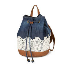 Denim and Crocheted Lace Backpack with Faux Leather Trim School Book Bag - NWT