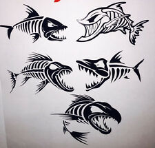 "(5) 6"" Skeleton Fish Decals Black or White car truck boat walleye bass outdoors"