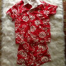 Laguna Cabana Set Hawaiian Floral Red White 2 Pc Swim Shorts Terry Lined Shirt M