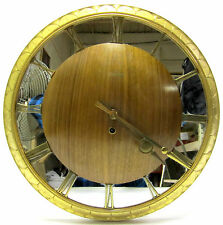Vtg Junghans Danish MCM style Teak/brass Wall Clock 8 Day 4 Jewel mirror face