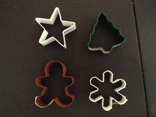4 Wilton Metal Christmas Cookie Cutter Set - Gingerbread Boy Snowflake Star Tree