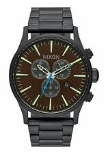 New Nixon Sentry Chronograph Steel Bracelet Black/Brown Men's Watch A3862209