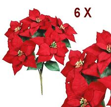 """6 Bushes 30 Red Poinsettias 20"""" Christmas Holiday Silk Flower Home Office Decor"""