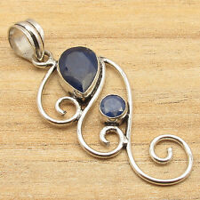 925 Silver Plated Blue SAPPHIRE DESIGNER Pendant 2 Inches CHEAPEST SHIPPING RATE