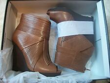 "CARLOS SANTANA Ladies Sz 6M NWB Tan Leather HIGH 4.5"" Fringe Wedge Heels WOW!"