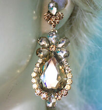 Rhinestone Chandelier Earrings Bridal Prom Pageant 3 inch Topaz Champagne Color