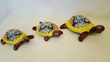Talavera 3 pc Rock TURTLE Set Hand Painted Terracotta Mexican Pottery Wall Decor