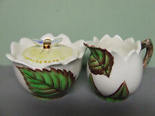 Vintage Lefton (ESD) Flower & Bumble Bee Creamer and Sugar Bowl (Japan/#6818)