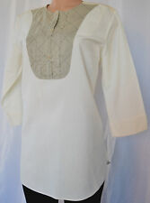 DRIES VAN NOTEN Cream/Beige Cotton 3/4 Sleeves Top/Tunic Size 38