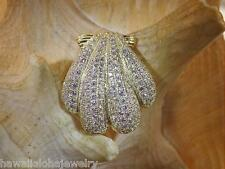21.5MM 14K YELLOW GOLD OVER STER SILVER HAWAIIAN SCALLOP SHELL CZ SLIDE PENDANT
