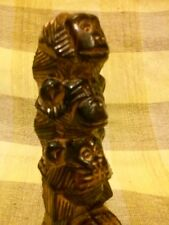Unique ~ Wooden Handcarved Wise Chimpanzee Monkey HEAR,SPEAK & SEE NO EVIL Wood