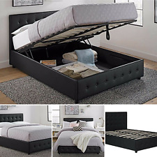 Full Size Bed Frame With Shoe Storage Tufted Headboard Leather Black Platform