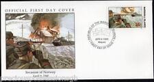 W5 2-2 historia de la Segunda Guerra Mundial Islas Marshall FDC Cubierta 1990 invasión de Noruega 1940