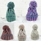 Winter Warm Women Men Knit Wool Crochet Cap Ski Beanie Ball Wool Cuff Baggy Hat