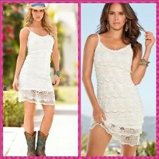 NEW XL $139 14-16 Boston Proper Sexy Crochet Salsa White Tiered Summer Sun Dress