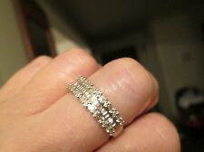 $800 ZALES 10K WHITE GOLD 1 CT. DIAMOND BAGUETTE ANNIVERSARY RING BAND! sz 8.75