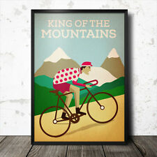 king of the mountains polka dot tour de france poster cycling retro vintage