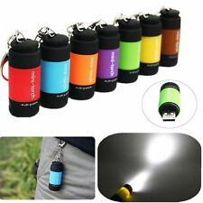 Rechargeable USB LED Light Flashlight Lamp Mini Torch Pocket Keychain Waterproof